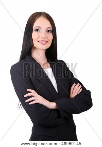 Young business woman, isolated on white
