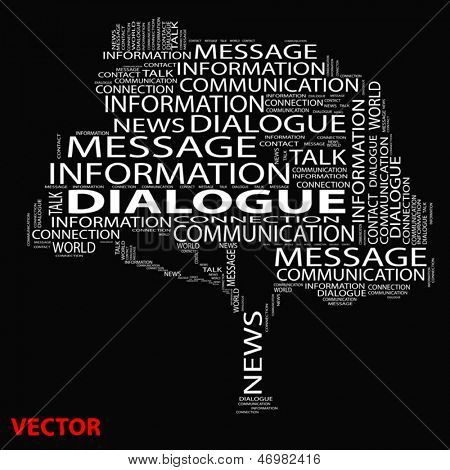 Vector eps concept or conceptual white tree dialogue word cloud on black background wordcloud