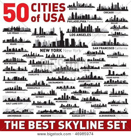The Best Vector City Skyline Silhouettes Set