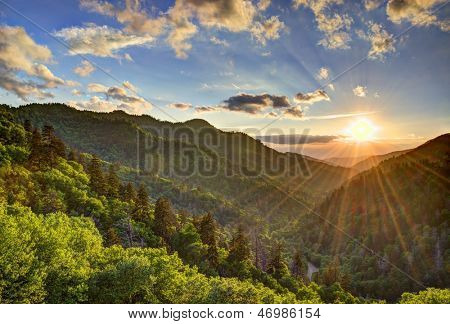 Newfound Gap in the Smoky Mountains near Gatlinburg, Tennessee.