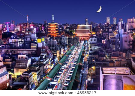 Skyline of the Asakusa District in Tokyo, Japan with famed temples.