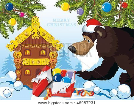 Background for new year with Teddy bear, Merry Christmas and a Happy New-Year's greeting sweet postcard