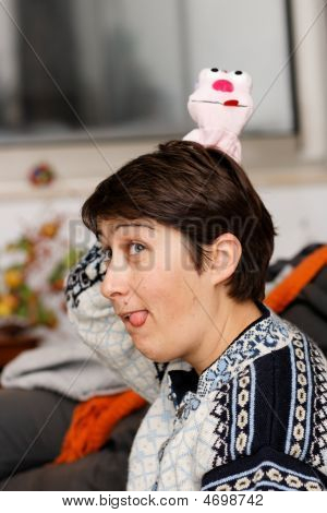 Woman Sticks Out Her Tongue