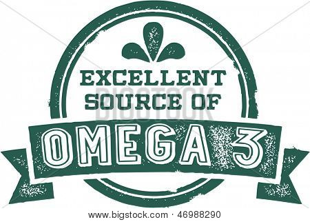 Excellent Source of Omega 3 Fatty Acids Healthy Nutrition Stamp