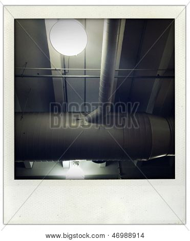 Ventilation ducting and light inside building