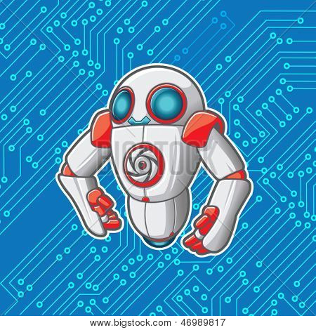 Vector robot with a microchip background. File is layered for editing. See portfolio for simular art.