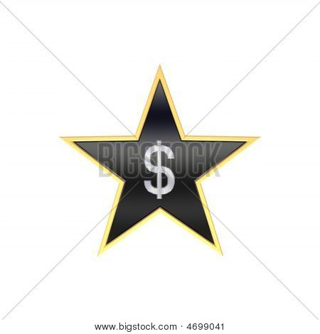 Chrome Dollar Sign In The Star Isolated On White.