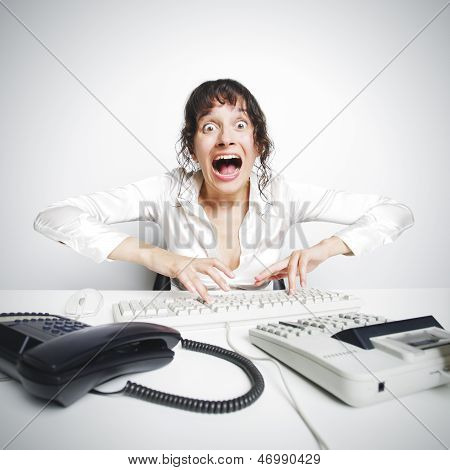 Female Secretary Crazed From Overwork