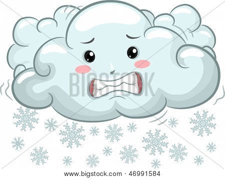 Illustration of Shivering Cloud Mascot with Snowflakes