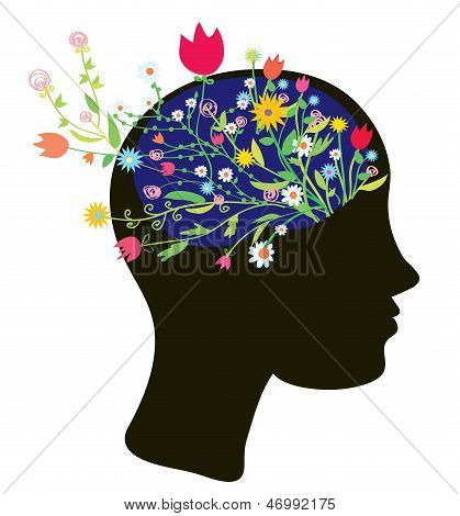 Girl head silhouette with flowers