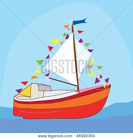 Funny yacht at the sea cartoon