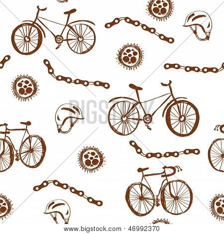 Bicycle funny seamless pattern grunge design