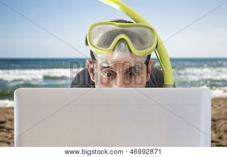 Man Surprised By The Bid Prices On The Web S On The Beach