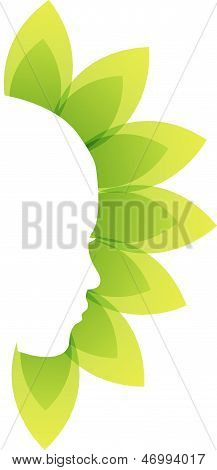 Lady's face with green leaves-beauty icon concept