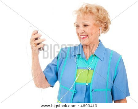 Senior Woman Watching Video