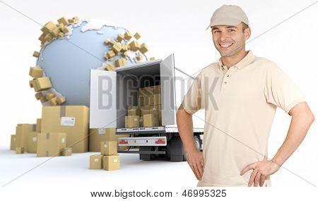 Messenger delivering a parcel in an international transport context