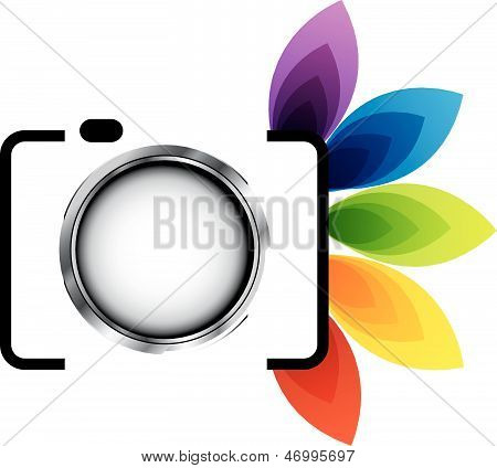 Photography icon with colorful leaves