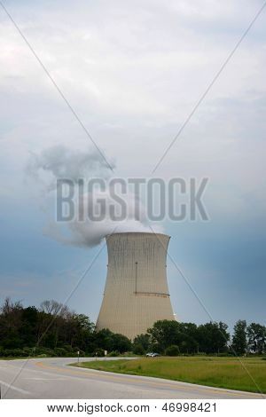 Nuclear reactor with vapor near a countryside road
