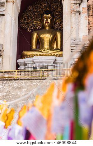 Buddha Statue In Chedi , Wat Chedi Lung Chiangmai