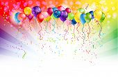 stock photo of confetti  - Multicolored background and balloons with space for text - JPG