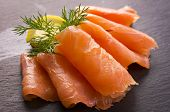 stock photo of plate fish food  - smoked salmon - JPG