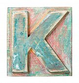 Wooden alphabet block, letter K