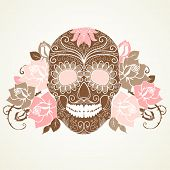 stock photo of skull bones  - Skull and roses - JPG