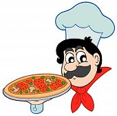 stock photo of people work  - Cartoon chef with pizza on white background  - JPG