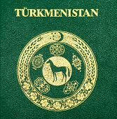 foto of passport cover  - Fragment of the Turkmenistan passport cover close up - JPG