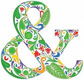 image of ampersand  - Colorful ampersand made of floral elements  - JPG
