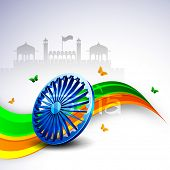 stock photo of ashoka  - 3D Ashoka wheel on national flag colors wave background with butterflies on Red Fort background - JPG