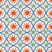 stock photo of crescent  - Seamless background with Arabic or Islamic ornaments style pattern - JPG