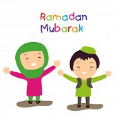 stock photo of muslim kids  - Muslim community holy month Ramadan Mubarak background with two happy muslim kids in traditional outfits - JPG