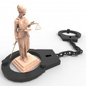 foto of handlock  - Themis statue and handcuffs over white background - JPG