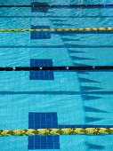 stock photo of swim meet  - Swim meet pool with lane ropes and ribbon