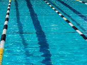 image of swim meet  - Swimming pool lane at outdoor pool with ropes  - JPG
