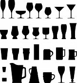 stock photo of stein  - Vector silhouette set of cups glasses and flutes used for holding alcoholic beverages - JPG