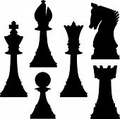 pic of chess pieces  - Vector illustration of various chess pieces including knight king queen bishop rook and pawn - JPG
