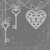 stock photo of skeleton key  - Vintage grunge card with hanging lock shaped heart and skeleton key - JPG