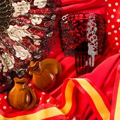stock photo of castanets  - castanets fan and flamenco comb typical from Spain Espana elements - JPG