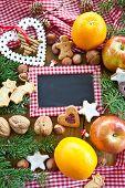 stock photo of weihnachten  - Hintergrund mit Plaetzchen Nuessen und Fruechten zu Weihnachten - JPG