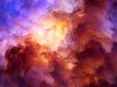 image of surrealism  - Surreal storm clouds shading from dark purples and reds to oranges and yellows symbolizing a range of concepts such as creation the birth of stars or an ominous maelstrom - JPG