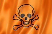 pic of skull crossbones flag  - toxic poison skull flag three dimensional render satin texture - JPG
