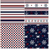 Collection Of Marine Backgrounds In Dark Blue, Red And White Colors.