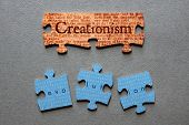 picture of darwin  - Creationism against background of Genesis text printed on matched jigsaw pieces with Evolution against background of human genome sequence printed on mismatched jigsaw pieces - JPG