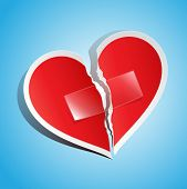 pic of heartbreak  - Vector illustration of a torn paper heart fixed with tape - JPG