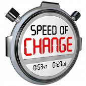 stock photo of evolve  - Speed of Change words on a timer or stopwatch to illustrate the fast pace of innovation and evolving to compete against your opponents in business - JPG
