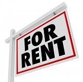 The words For Rent on a house or apartment property for rental or lease to someone needing temporary