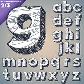 picture of hand alphabet  - Sketch alphabet - JPG