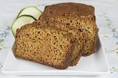 stock photo of zucchini  - Vegetarian cake made of zucchini ginger and lemon peel - JPG